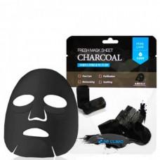3W CLINIC Fresh charcoal mask sheet - Маска тканевая для лица уголь 23мл