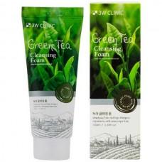 3W CLINIC Green tea cleansing foam - Пенка для умывания с экстрактом зелёного чая 100мл