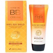 3W CLINIC Horse oil BB cream, SPF 50 PA+++, - Крем BB на основе лошадиного масла 70мл