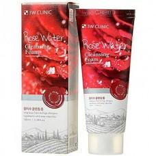 3W CLINIC Rose water foam cleansing - Пенка для умывания с розовой водой 100мл