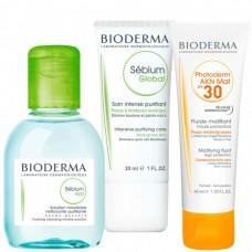 BIODERMA Sebium + Photoderm Set - Набор СЕБИУМ + ФОТОДЕРМ (Мицеллярная вода Н2О + Крем для проблемной кожи + Солнезащитная эмульсия) 100 + 30 + 40мл