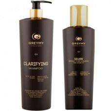 GREYMY Silver Result Hair KERATIN TREATMENT + Clarifying SHAMPOO - Восстанавливающий крем для волос + Очищающий шампунь 500 + 800мл