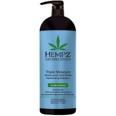 HEMPZ PURE HERBAL Triple Moisture Replenishing Shampoo - Шампунь для Волос Тройное Увлажнение 1000мл
