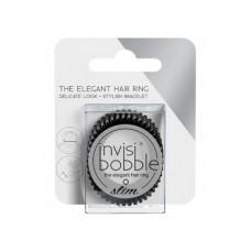 Invisibobble SLIM True Black - Резинка-браслет для волос с подвесом, цвет Черный 3шт