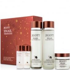 JIGOTT Snail moisture skin care 3set - Набор для ухода за кожей лица на основе экстракта улитки 150 + 150 + 50 + 30 + 30мл