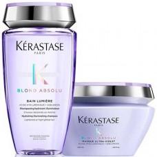 Kerastase BLONDE ABSOLU Set - Подарочный набор (Шампунь-Ванна для мелированных и осветленных волос + Маска фиолетовая, нейтрализующая желтые полутона) 250 + 200мл