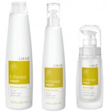 LAKME k.therapy Repair Gift Pack - Набор средств для восстановления волос (шампунь, флюид, гель) 300 + 300 + 30мл