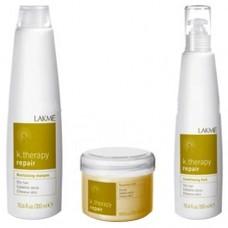 LAKME k.therapy Repair Pack - Набор для восстановления сухих волос (Шампунь, Кондиц.флюид, Маска) 300 + 300 + 250мл
