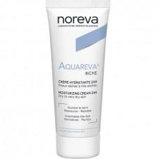 Noreva Aquareva RICHE Creme Hydratante 24H - Крем насыщенный для сухой и очень сухой кожи Увлажняющий 24 часа, 40мл