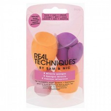Real Techniques Miracle Complexion Sponges - Набор спонжей для макияжа ОРАНЖЕВЫЙ/РОЗОАВЫЙ 2 + 3 + 1шт