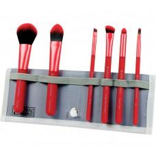 Royal & Langnickel MODA TOTAL FACE SET RED - Набор кистей для макияжа лица в чехле КРАСНЫЙ 6шт