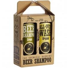 THE CHEMICAL BARBERS BEER SHAMPOO GIFT SET MIXED - Подарочный Набор: Пивной шампунь с мятой и эвкалиптом и Очищающее средство для лица, тела и волос 440 + 440мл