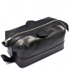 TRUEFITT & HILL LEATHER Gentlmen`s Wash Bag BLACK - Косметичка на молнии ЧЁРНАЯ 232 х 105мм