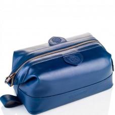 TRUEFITT & HILL LEATHER Gentlmen`s Wash Bag BLUE - Косметичка на молнии СИНЯЯ 232 х 105мм