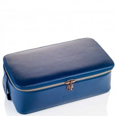 TRUEFITT & HILL LEATHER Regency Box Bag BLUE - Прямоугольная косметичка на молнии СИНЯЯ 268 х 85мм