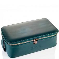 TRUEFITT & HILL LEATHER Regency Box Bag GREEN - Прямоугольная косметичка на молнии ЗЕЛЁНАЯ 268 х 85мм