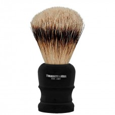 TRUEFITT & HILL SHAVING BRUSHES Welington EBONY - Кисть для бритья WELINGTON (Ворс серебристого барсука) ЭБОНИТ с серебром 10см