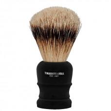 TRUEFITT & HILL SHAVING BRUSHES Welington EBONY - Кисть для бритья WELINGTON (Ворс серебристого барсука) ЭБОНИТ с серебром 10см