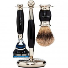 TRUEFITT & HILL SHAVING Edwardian Set EBONY Fusion - Набор для бритья: Станок с лезвием Fusion / Кисть для бритья ЭБОНИТ с серебром 1 + 1шт