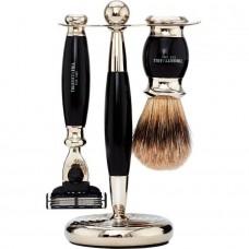 TRUEFITT & HILL SHAVING Edwardian Set EBONY Mach III - Набор для бритья: Станок с лезвием Mach III / Кисть для бритья ЭБОНИТ с серебром 1 + 1шт